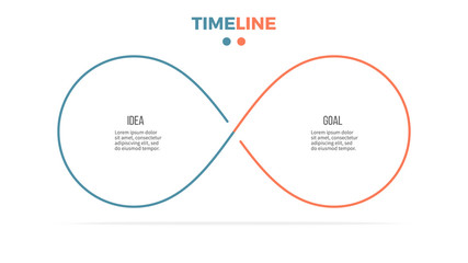 Business infographics. Timeline with 2 steps, options, loops. Vector template. Wall mural