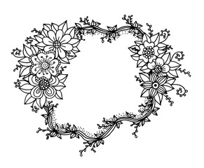 Decorative Frame Composition With Flowers Ornate Elements In Doodle Style Floral