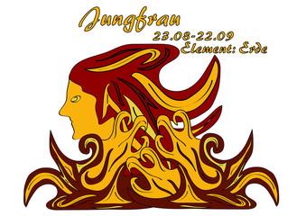 Sternzeichen Jungfrau, mit deutschem Text: Jungfrau, Datum, Element Erde, Vektorgrafik eps10