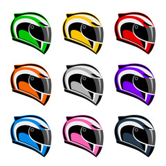 Wall Mural - Set of colorful motorcycle helmets on a white background