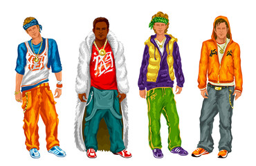 Group of hip hop guys on a white background