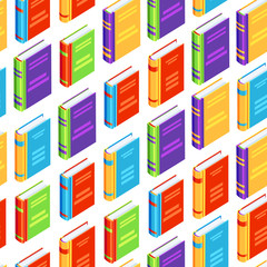 Seamless pattern with isometric books.