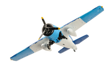 Blue plastic plane isolated on the white background