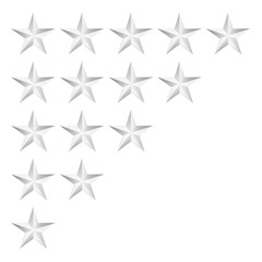 rating silver stars isolated on white,vector illustration