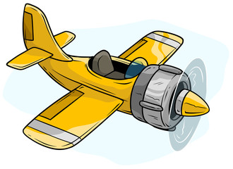 Cartoon yellow retro airplane toy vector