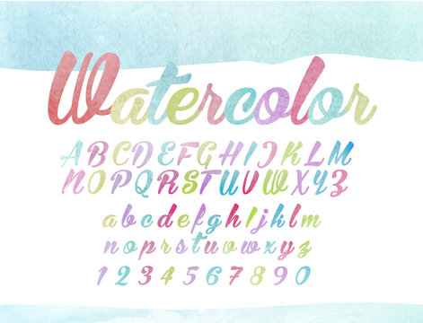 watercolor lettering, a light colorful font, letters of the alphabet