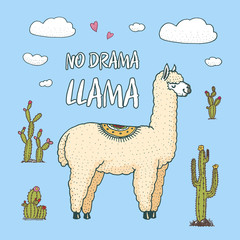 Cute Alpaca Llamas or wild guanaco on the background of Cactus and mountain. Funny smiling animals in Peru for cards, posters, invitations, t-shirts. Hand drawn Elements. Engraved sketch.
