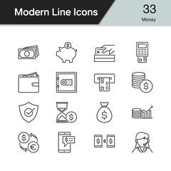 Money icons. Modern line design set 33. For presentation, graphic design, mobile application, web design, infographics.