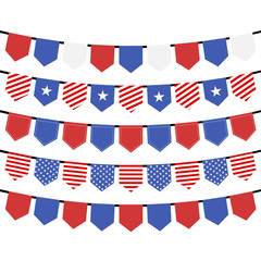 USA hanging bunting flags