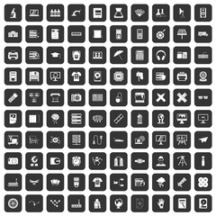 100 printer icons set in black color isolated vector illustration