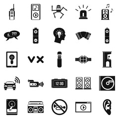 Sound icons set. Simple set of 25 sound vector icons for web isolated on white background