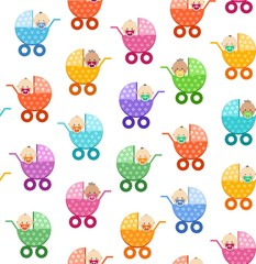 Babies in strollers, seamless pattern, white, vector. Small children in coloured baby carriages on a white background. Color, flat background. Vector picture.