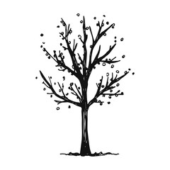 a fall tree with leaves falling. vector isolated