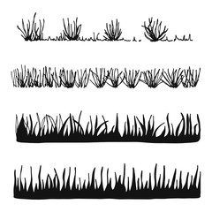 grass and plants vector. isolated silhouette