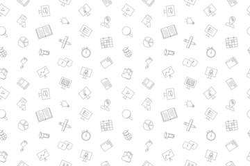 Vector Online course pattern. Online course seamless background