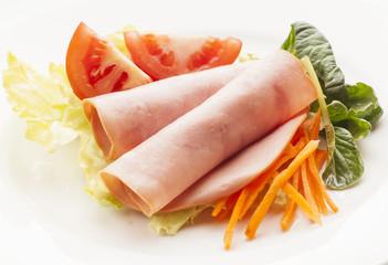 Salad and turkey ham