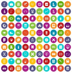 100 school icons set in different colors circle isolated vector illustration