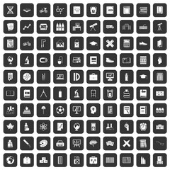 100 school icons set in black color isolated vector illustration