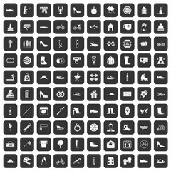 100 shoe icons set in black color isolated vector illustration