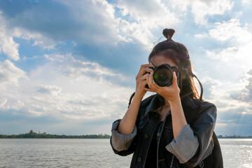 women taking a photo