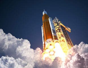 Space Launch System Takes Off. 3D Illustration.