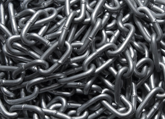 Background of a metal strong chain, top view