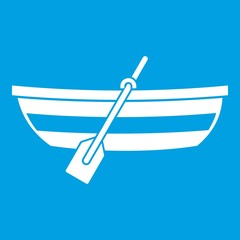 Fishing boat icon white isolated on blue background vector illustration