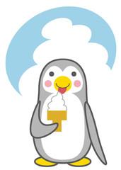 ソフトクリームを食べるペンギン
