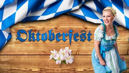 """junge Frau im Dirndl vor Hintergrund mit bayrischem Rautenmuster und Aufschrift """"Oktoberfest"""""""