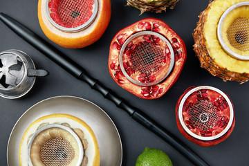 Fruit Shisha Hookah Bowls On Black Background