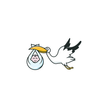 baby stork logo illustration graphic vector