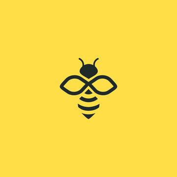 Bee logo vector outline minimalist graphic vector