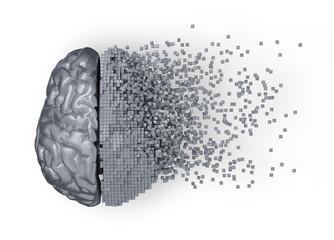 Desintegration Of Metal Digital Brain. 3D Illustration.