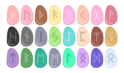 Runes. Runic alphabet. Old Norse, Icelandic, German and Anglo-Saxon. Vector symbols. Sign, icon. Multicolored stones