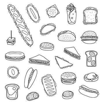 Set of hand drawn sandwiches and burgers.