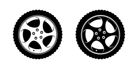 Wheel Clipart in white and black disks