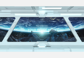 White Spaceship Interior Window Mockup