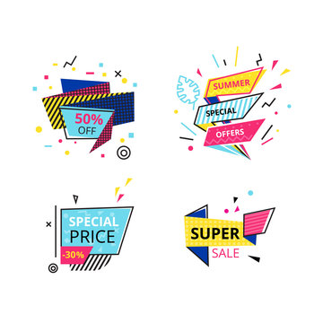 Set of promotional stickers, banners, discount labels, offers, best price.