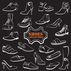 collection of various men's and women's shoes on black background