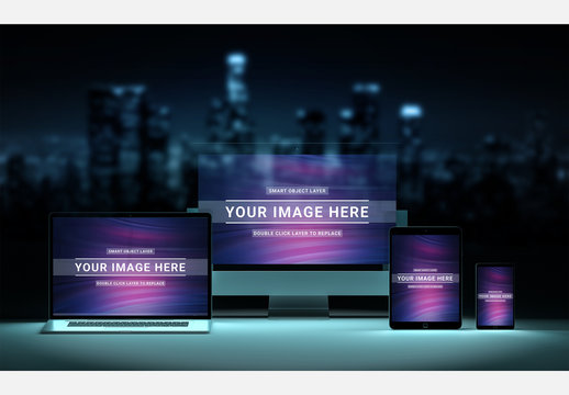 4 Devices with City Imagery Mockup
