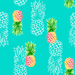 Pineapple print on a blue background