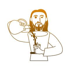 Jesuschrist turning water into wine vector illustration graphic design