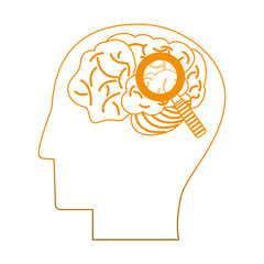 Brain and magnifying glass on head silhouette vector illustration graphic design