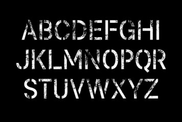 Stencil pattern latin typeface, editable font with uppercase, numbers, punctuation and currency (dollar, euro, yen, pound, bitcoin) symbol glyphs with grunge texture