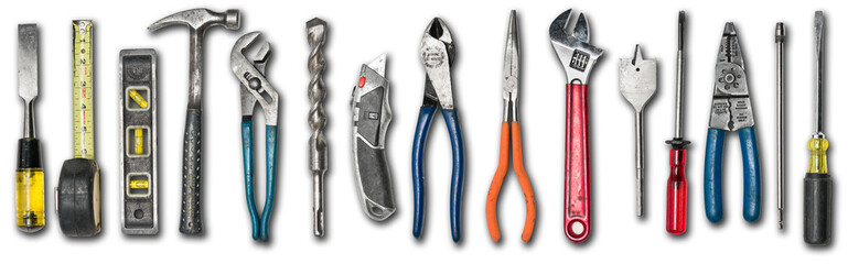 Various used tools on white background Fototapete