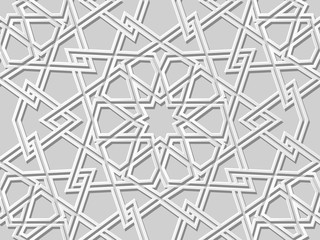 3D white paper art Islamic geometry cross pattern seamless background