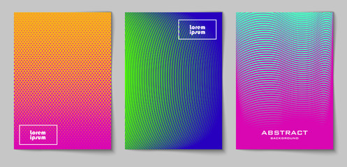 Set of vertical abstract backgrounds with halftone pattern in neon colors. Collection of gradient textures with geometric ornament. Design template of flyer, banner, cover, poster in A4 size