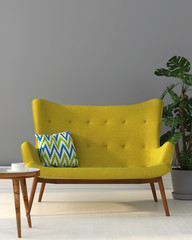 Interior with a yellow sofa