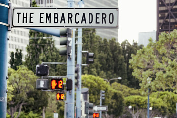The Embarcadero Street Sign, San Francisco, California, USA.