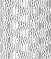 3D white paper art Islamic geometry cross pattern seamless background